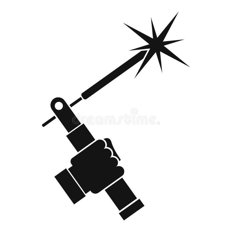 Mig spawalnicza pochodnia w ręki ikonie prostej ilustracja wektor