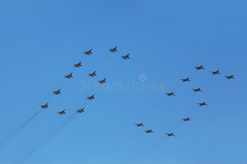 Mig And Su Fighter Planes On Parade Editorial Image