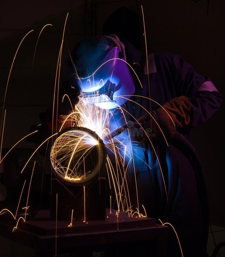 MIG welding steel pipe stock photos