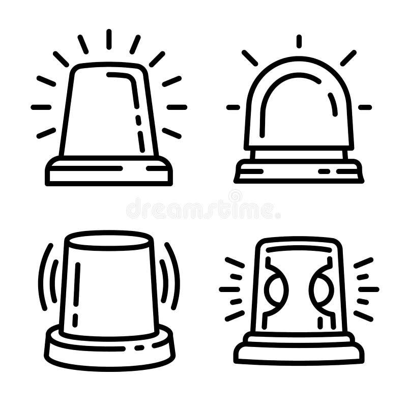Migacz ikony set, konturu styl ilustracji