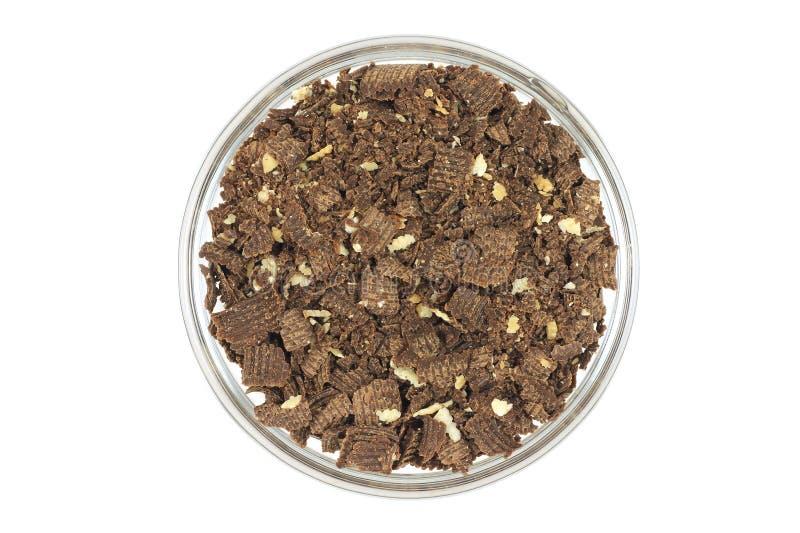 Migalha do chocolate em um vidro fotografia de stock royalty free