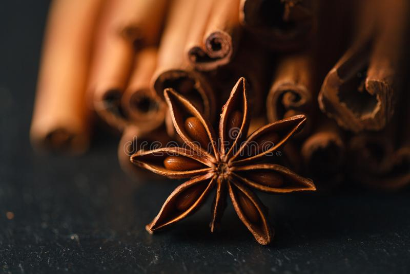 migdałów anyżowego aromata kardamonu cynamonowe hazelnuts arachidów pikantność ukazują się rocznika drewnianego zdjęcie royalty free