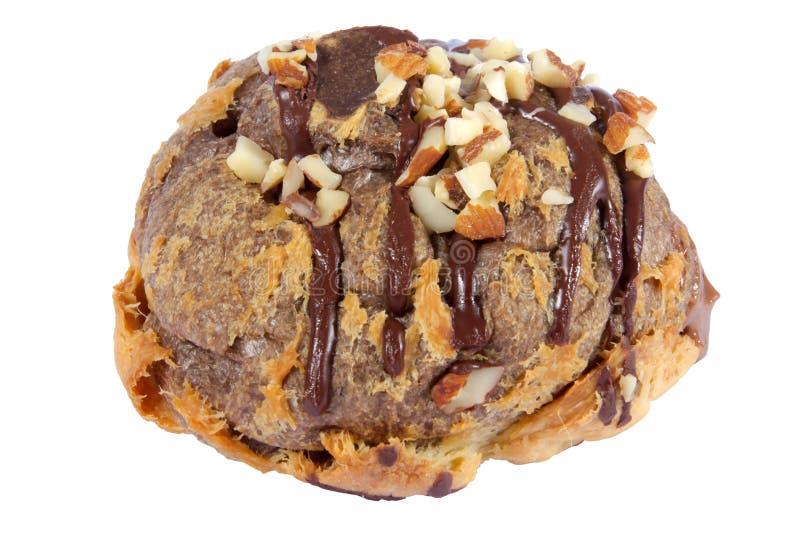 migdałowego bigne czekoladowy kremowy ciasto faszerujący zdjęcia stock
