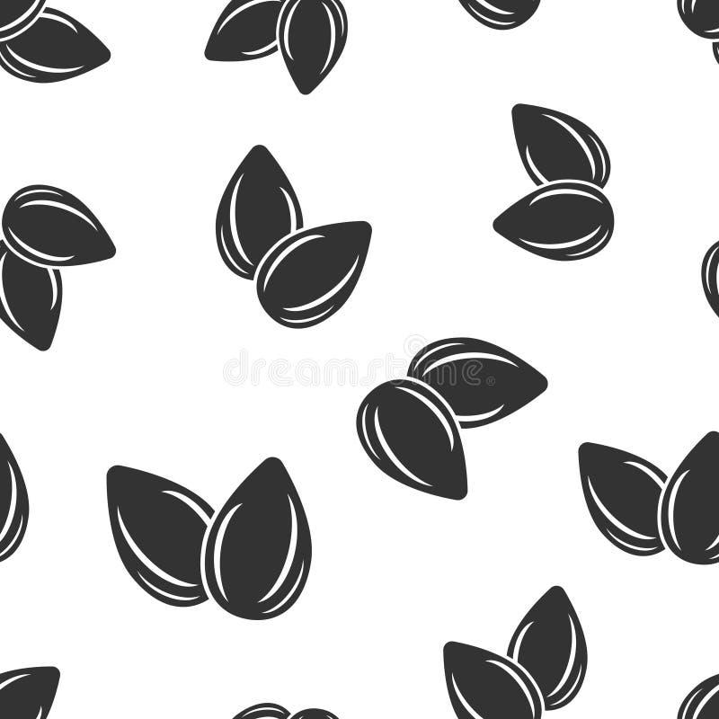 Migdałowej ikony bezszwowy deseniowy tło Bobowa wektorowa ilustracja na bia?ym odosobnionym tle Dokr?tka biznesu poj?cie ilustracji