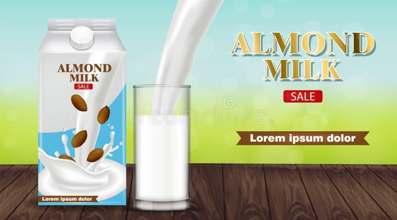 Migdału dojny dolewanie w szklany wektorowy realistycznym Produktu plasowanie reklamuje Pluśnięcia mleka przepływ Etykietka szabl ilustracja wektor