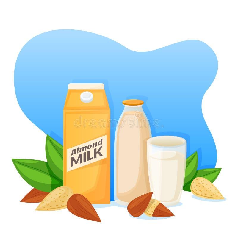 Migdału mleko w pakować, butelce i szkle, wektorowa płaska kreskówki ilustracja Napój etykietka lub majcheru projekta szablon ilustracja wektor