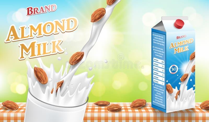 Migdału mleko z pluśnięciem i ziarna odizolowywający na bokeh tle Papierowego kartonu migdału mleka pakunku projekt wektor ilustracja wektor