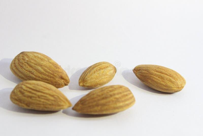 Migdały Suszą owoc na białym tle zdjęcie stock