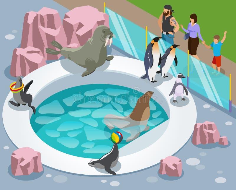 Migdalić zoo Isometric skład royalty ilustracja
