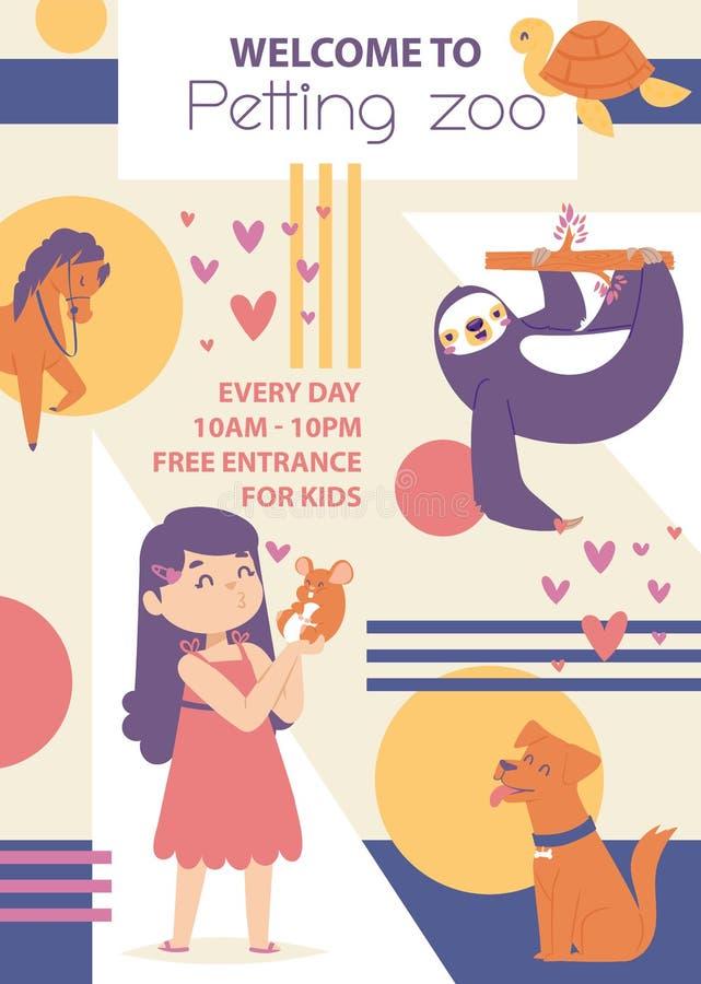 Migdalić zoo wektoru plakat Dziewczyna bawić się z zwierzętami Szczęśliwi zwierzęta są prześladowanym opieszałość, końska mysz, ż ilustracja wektor