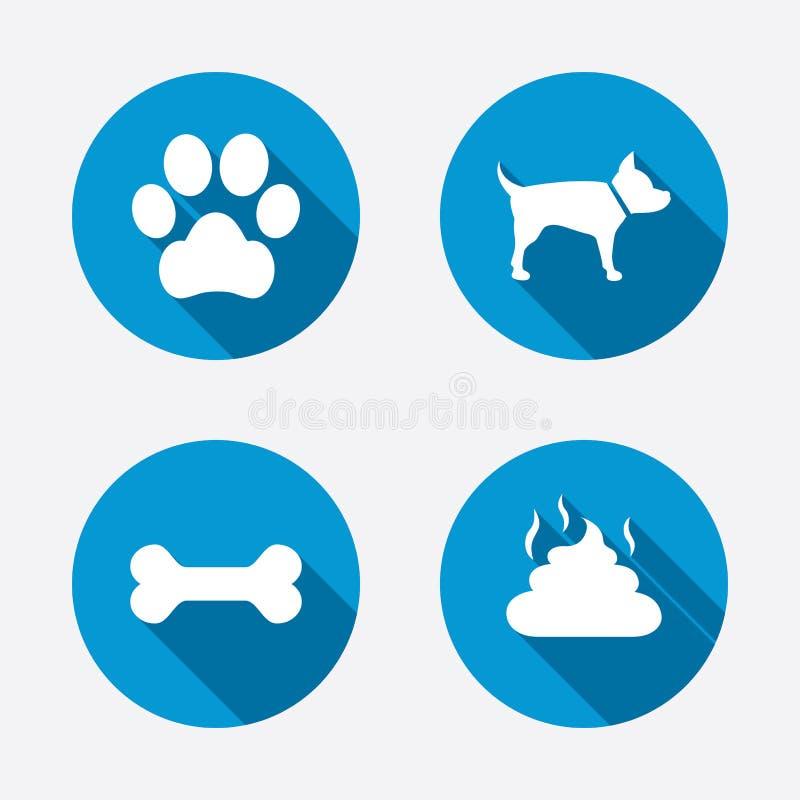 Migdali ikony Psi łapy i fekaliów znaki ilustracja wektor