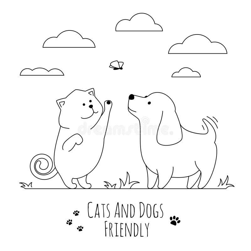 Migdali przyjaciół Pies i kot bawić się wpólnie doodle ilustrację ilustracji