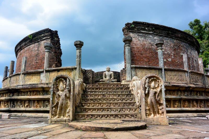 Mighty Buddha. Buddhist temple in Pollonawura, Sri-Lanka stock photo