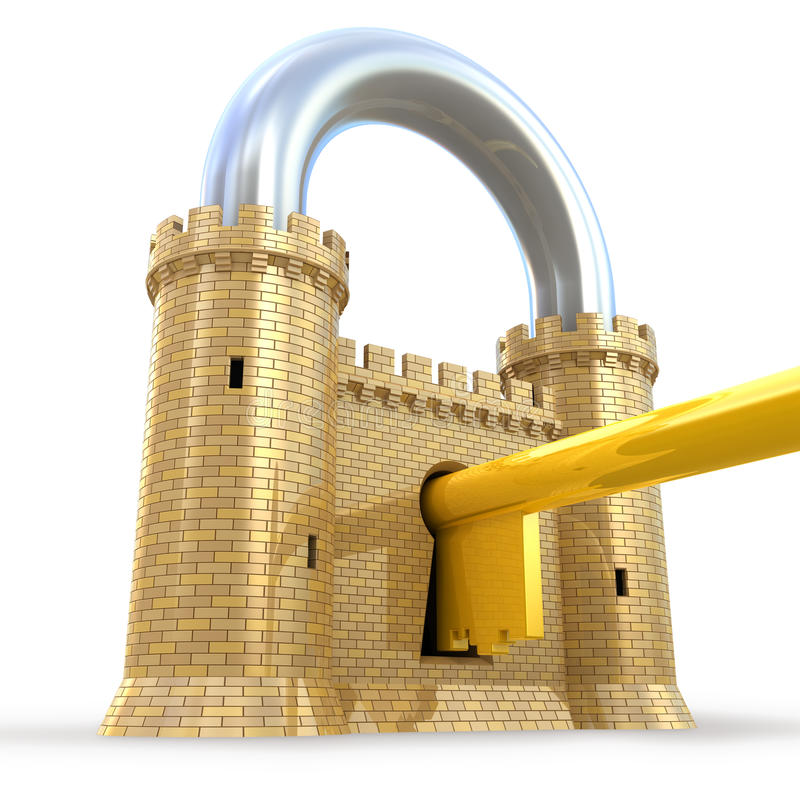 Mighty fortress as a padlock. Isolated on white royalty free illustration