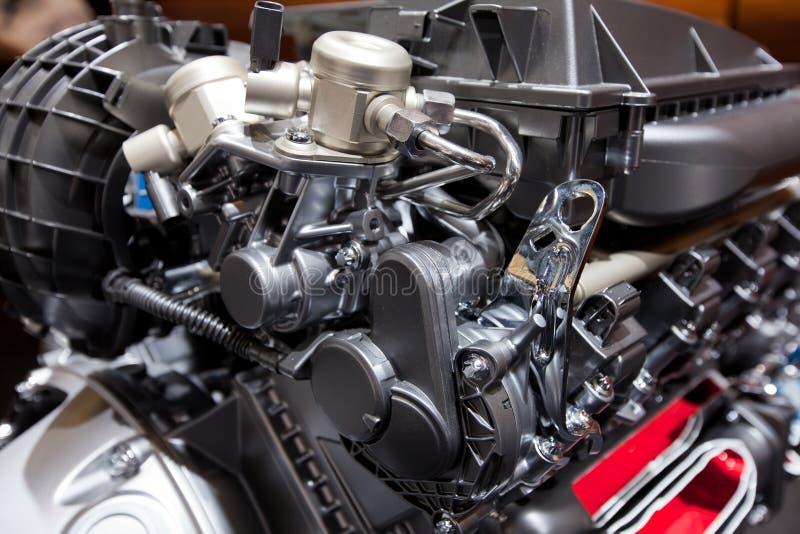 Mighty innovative car engine. Mighty innovative internal combustion V6 petrol engine royalty free stock photo