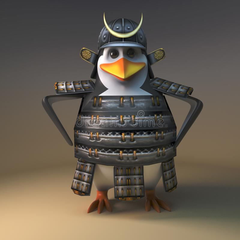 Mighty Japanese samurai warrior penguin stands relaxed with hands on hips, 3d illustration stock illustration