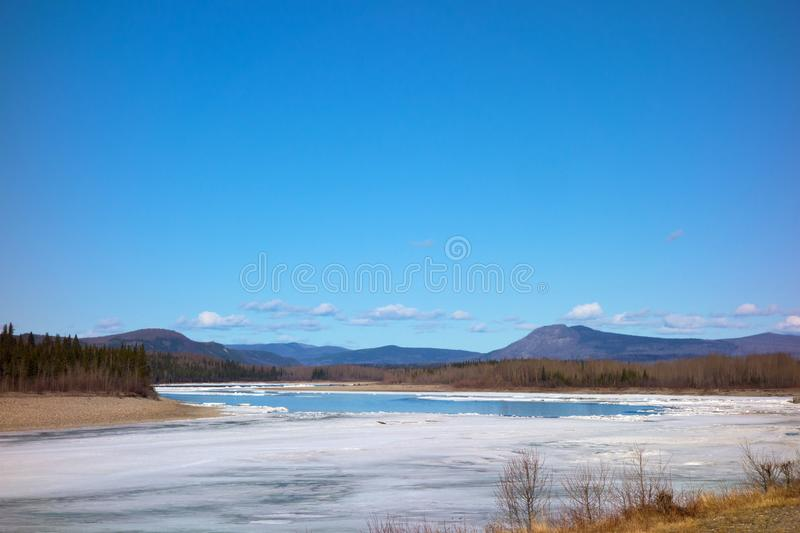 A river thawing in northern british columbia. The mighty liard breaking up in the springtime royalty free stock image