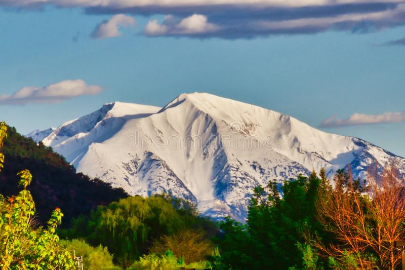 Mighty Mt. Sopris of Colorado. Rocky Mountain Springtime.  Glenwood Springs, Colorado is a mountain resort town with beautiful views and outdoor activities royalty free stock photo
