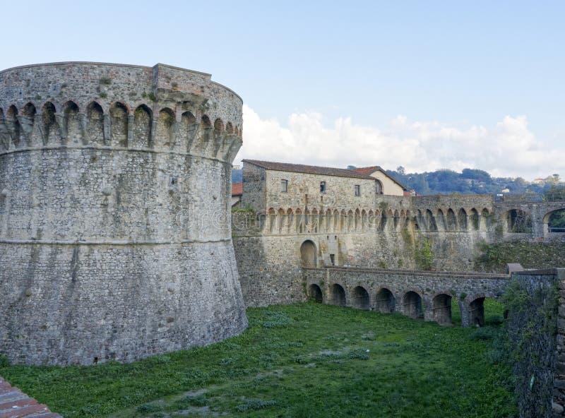 The mighty Pisan Fortezza Firmafede in Sarzana. ITALY stock photography