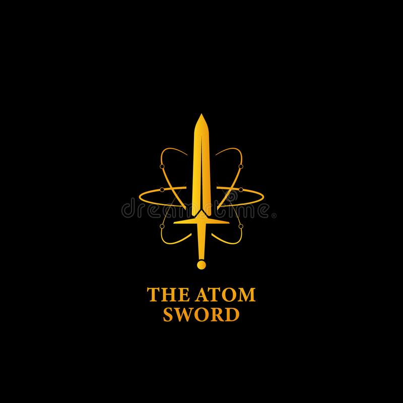 The mighty atom sword logo icon, super power magic sword logo symbol in gold color with atom orbit line illustration. Mighty powerful atom sword logo, magic stock illustration