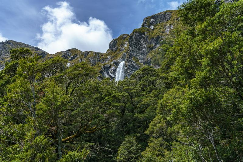 Mighty waterfalls, earland falls, southland, new zealand 1. Mighty waterfalls in the mountains, earland falls, southland, new zealand royalty free stock images