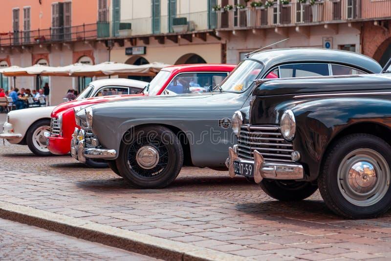 1000 Miglia 2017, Brescia - Italië 17 mei, 2017: Het historische Mille Miglia-autoras stock foto