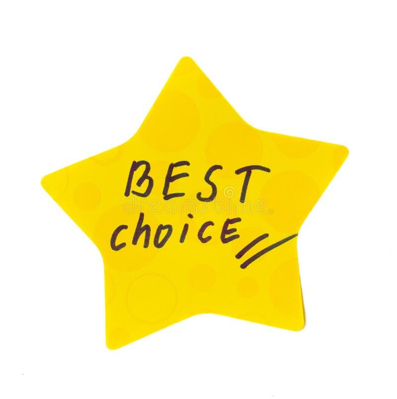 Migliore autoadesivo choice fotografia stock