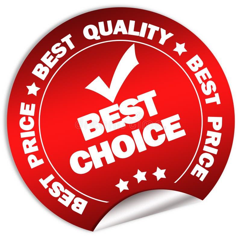Migliore autoadesivo choice di garanzia illustrazione di stock