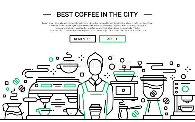 Migliore caffetteria nella città - insegna del sito Web royalty illustrazione gratis