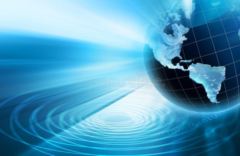 Migliore concetto del Internet del commercio globale Globo, linee d'ardore su fondo tecnologico Elettronica, Wi-Fi, raggi illustrazione vettoriale
