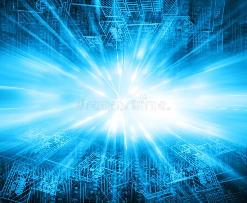 Migliore concetto del Internet del commercio globale priorità bassa tecnologica Rays i simboli Wi-Fi, di Internet, televisione illustrazione di stock