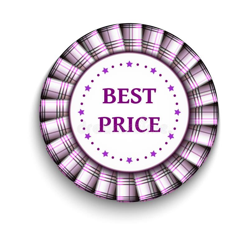 Migliore distintivo di prezzi del tartan leggero rosa con il nastro su fondo bianco illustrazione di stock