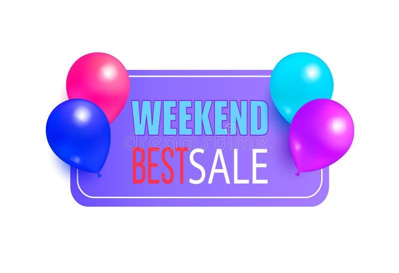 Migliore etichetta di promo di vendita di fine settimana con i palloni lucidi illustrazione di stock