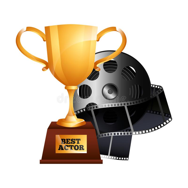 Migliore film del film della bobina del premio della tazza del trofeo dell'oro dell'attore royalty illustrazione gratis