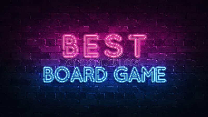 Migliore insegna al neon dei giochi da tavolo, grande progettazione per qualsiasi scopi 3d rendono Disegno moderno Retro progetta illustrazione di stock