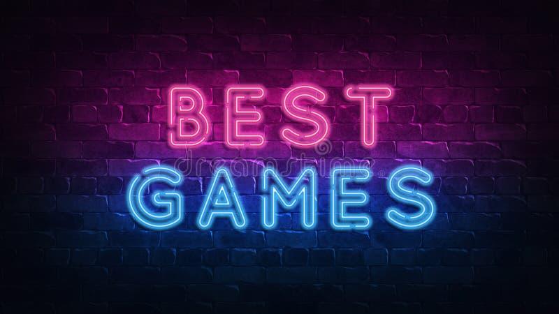 Migliore insegna al neon dei giochi, grande progettazione per qualsiasi scopi 3d rendono Disegno moderno Retro progettazione dell illustrazione vettoriale