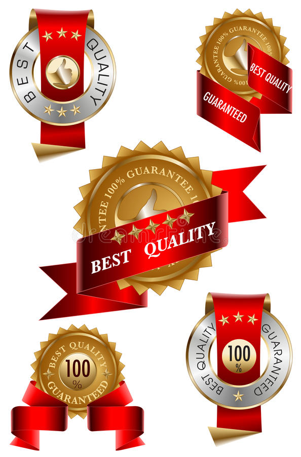 Migliore insieme di contrassegno di qualità illustrazione vettoriale