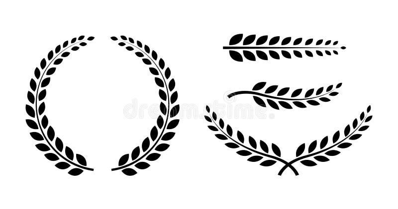 Migliore insieme Laurel Wreaths e rami Raccolta della corona Icona della corona del vincitore premi Illustrazione di vettore royalty illustrazione gratis
