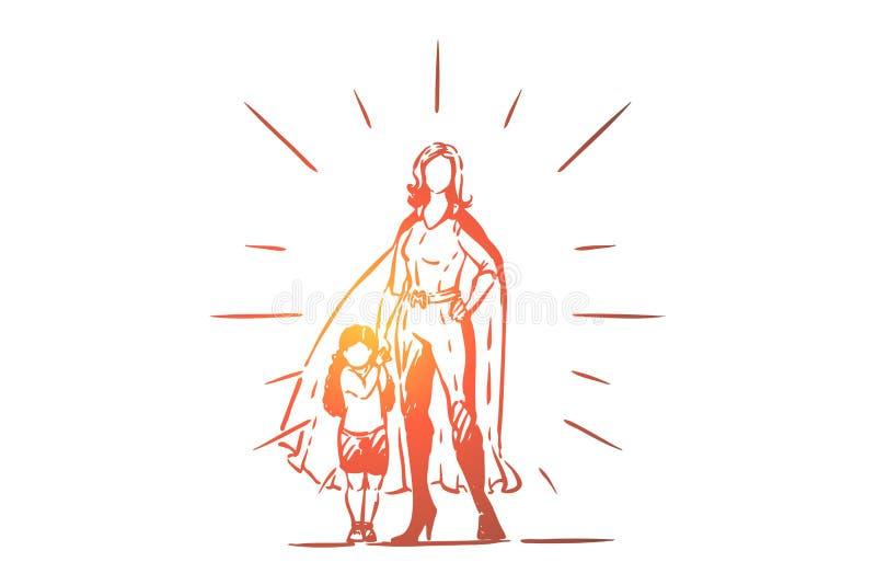 Migliore madre e figlia che si tengono per mano, supereroe femminile in costume con capo, bambina con il genitore, maternità illustrazione di stock