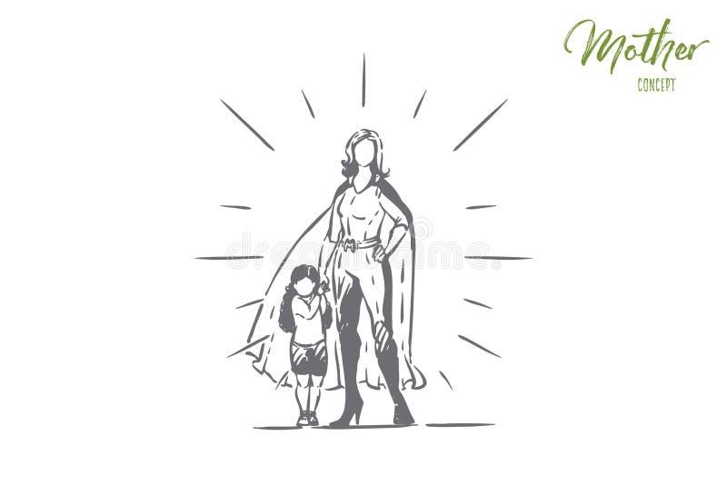 Migliore madre e figlia che si tengono per mano, supereroe femminile in costume con capo, bambina con il genitore, maternità royalty illustrazione gratis
