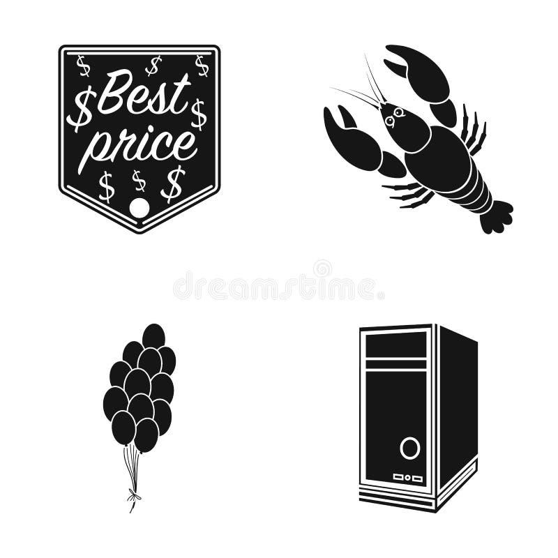 Migliore prezzo, cancro e l'altra icona di web nello stile nero palloni, icone dell'unità di sistema nella raccolta dell'insieme illustrazione vettoriale
