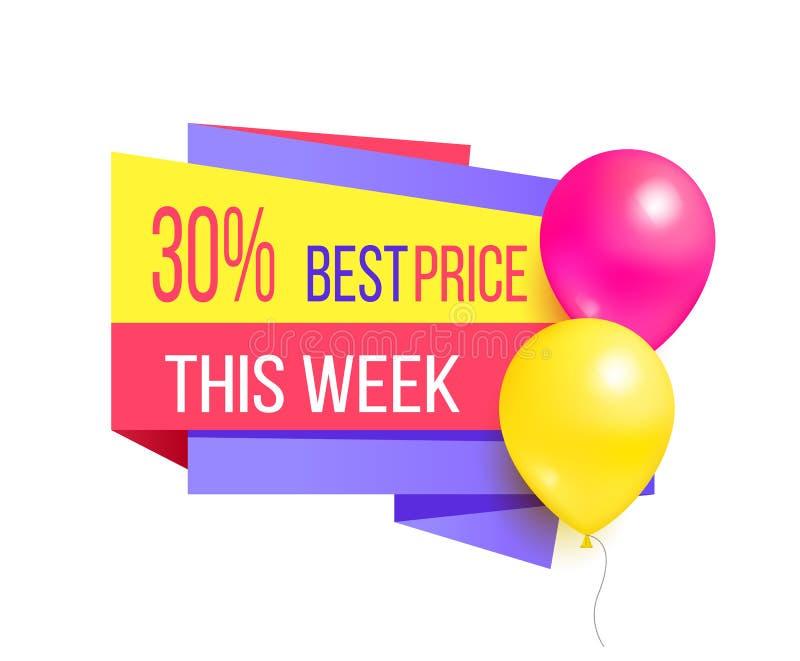 Migliore prezzo 30 palloni di questa di settimana di vendita etichetta di promo royalty illustrazione gratis