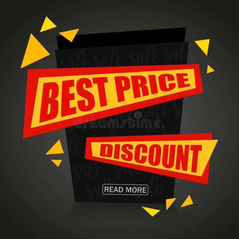 Migliore progettazione dell'insegna della carta di vendita di prezzi di vettore Fondo di vendita Etichetta di sconto illustrazione di stock