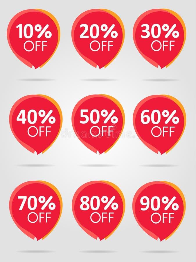 Migliore raccolta rossa degli autoadesivi di vendita Etichetta di prezzi di offerta di sconto royalty illustrazione gratis