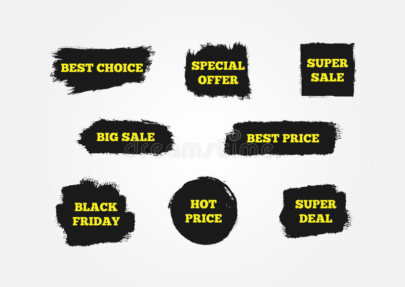 Migliore scelta, prezzo caldo, Black Friday, offerta speciale, affare eccellente, grande vendita Segni attirare i clienti illustrazione di stock