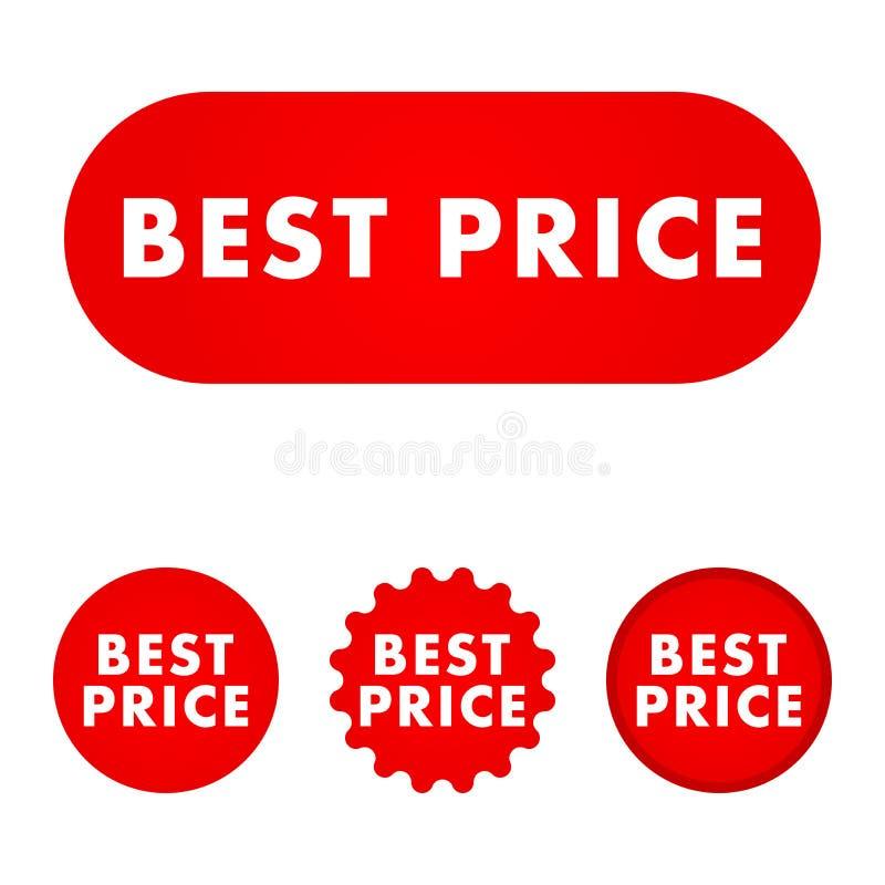 Migliore tasto di prezzi illustrazione di stock