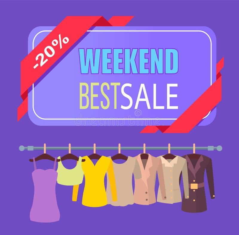 Migliore vendita di fine settimana per il manifesto promozionale dei vestiti illustrazione vettoriale