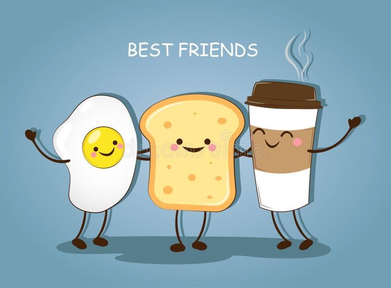 Migliori amici Buongiorno della prima colazione L'immagine sveglia di un caffè, le uova ed il pane tostato Vector l'illustrazione illustrazione vettoriale