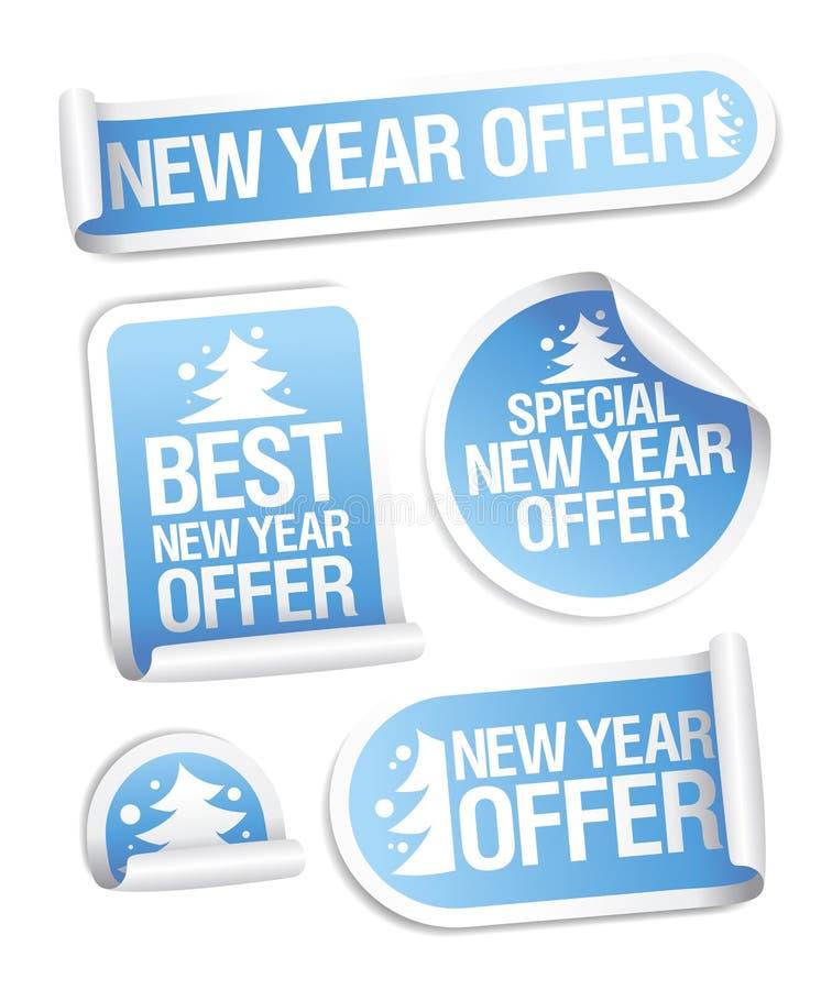 Migliori autoadesivi di offerta di nuovo anno. illustrazione vettoriale
