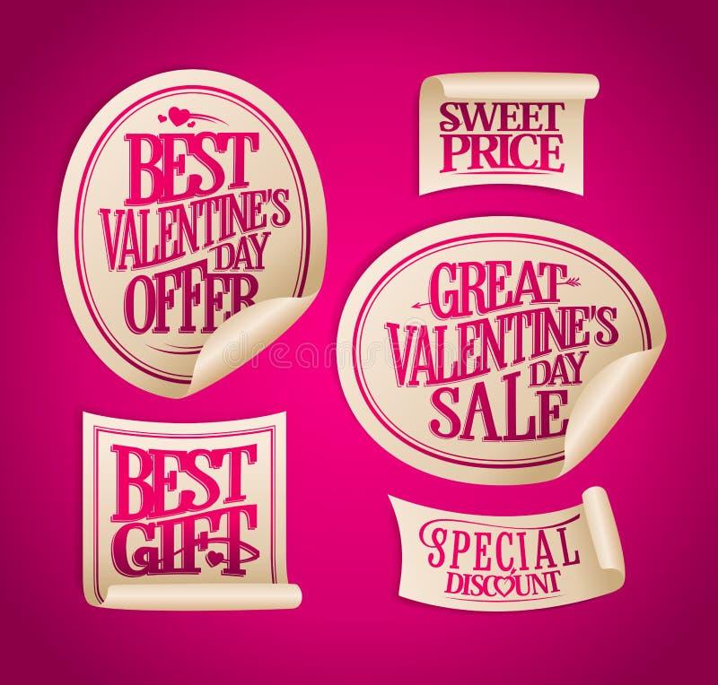 Migliori autoadesivi di vendita di San Valentino, offerte di festa, sconti speciali illustrazione di stock